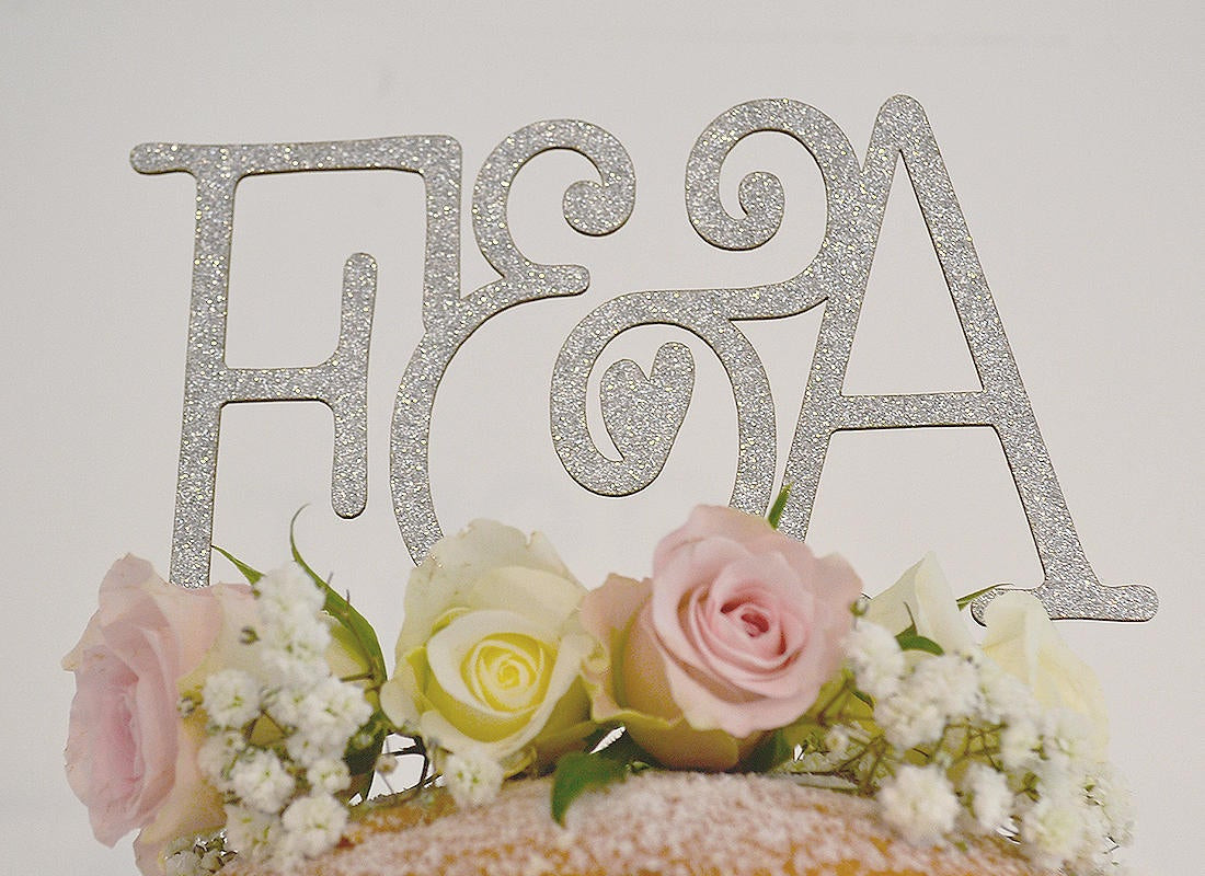 Wedding Initial Decor Monogram Personalised Initial Paper Wedding Cake Topper