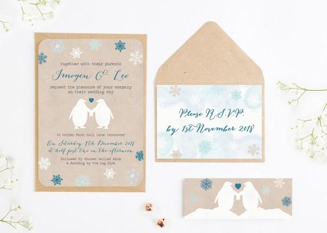 Wedding Invitation Bundles Rustic Penguin Snowflake Wedding Invitation Bundle Normadorothy