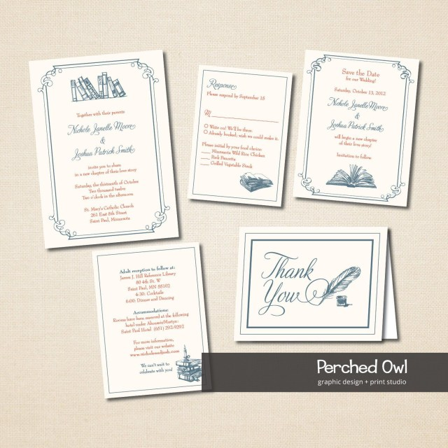 Wedding Invitation Bundles Vintage Library Wedding Invitation Package Rsvp Response