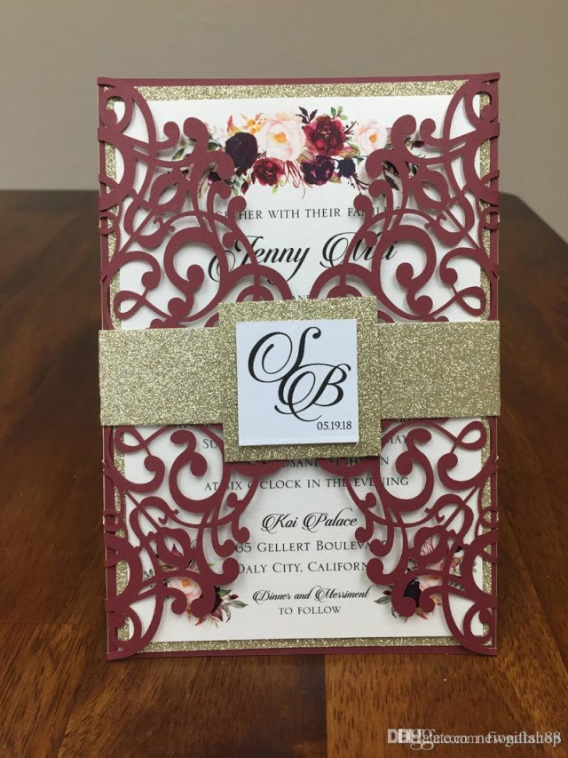 Wedding Invitation Diy Burgundy Lace Wedding Invites With Glitter Belly Band And Tag Diy