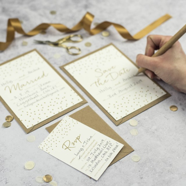 Wedding Invitation Diy Confetti Diy Wedding Invitation Set Russet And Gray