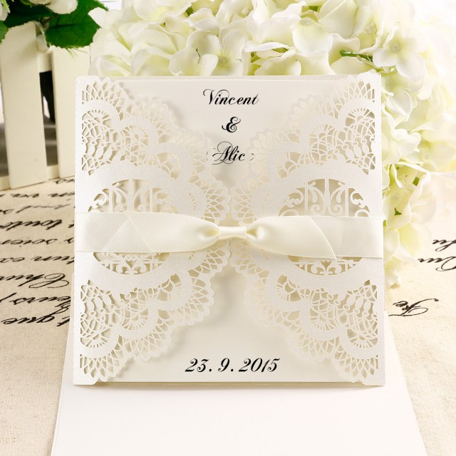 Wedding Invitation Diy Details About 10x Diy Laser Cut Lace Wedding Invitations Card Envelope W Ribbon Invite Au