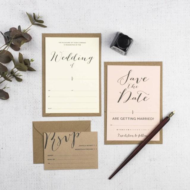 Wedding Invitation Diy Modern Calligraphy Diy Wedding Invitation Set