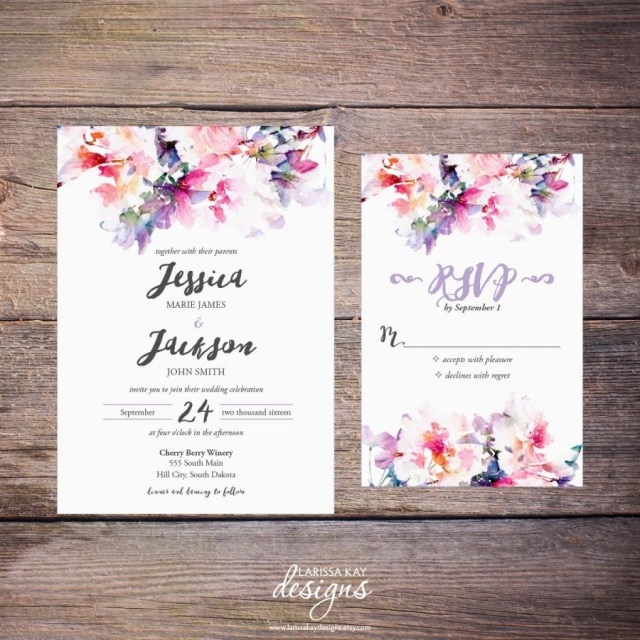 Wedding Invitation Diy Printable Watercolor Floral Wedding Invitation Suite Spring Flowers