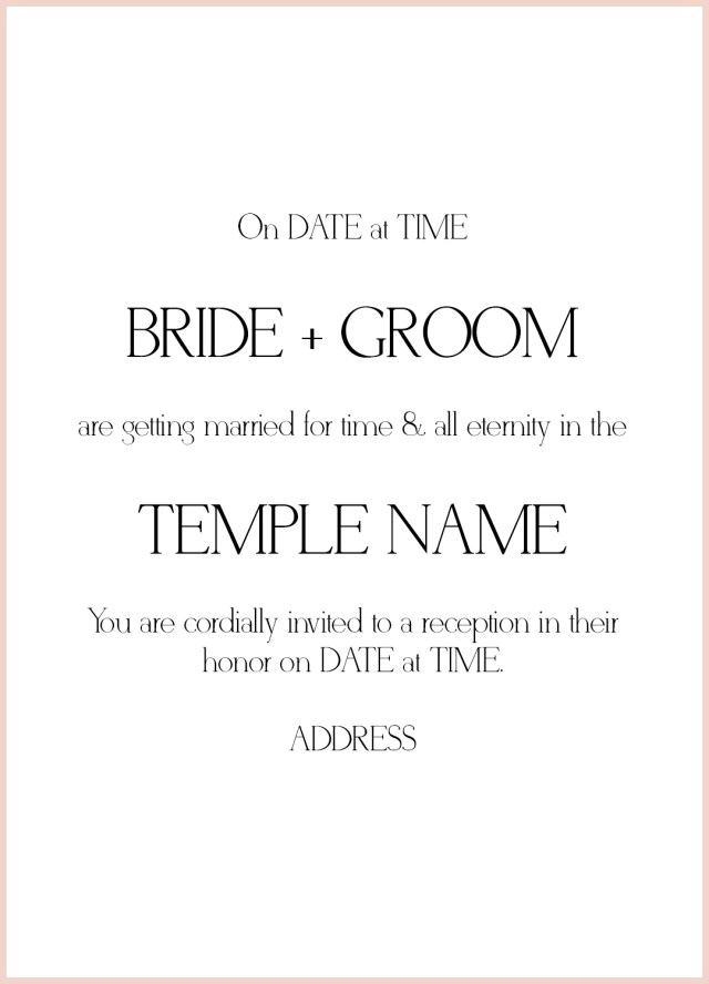 Wedding Invitation Example 8 Lds Wedding Invitation Wording Samples Lds Wedding
