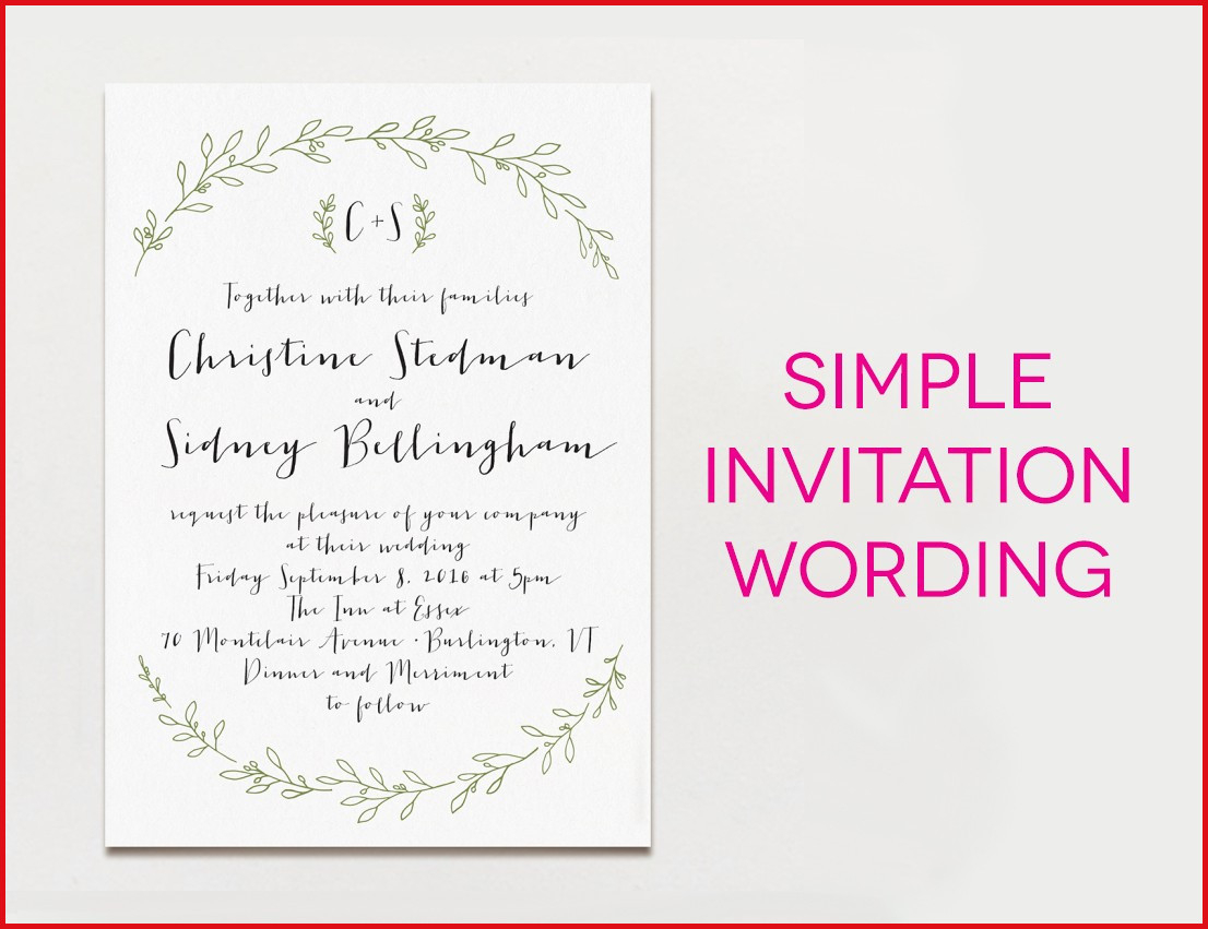 Wedding Invitation Example Wedding Invitation Wording Examples 2018