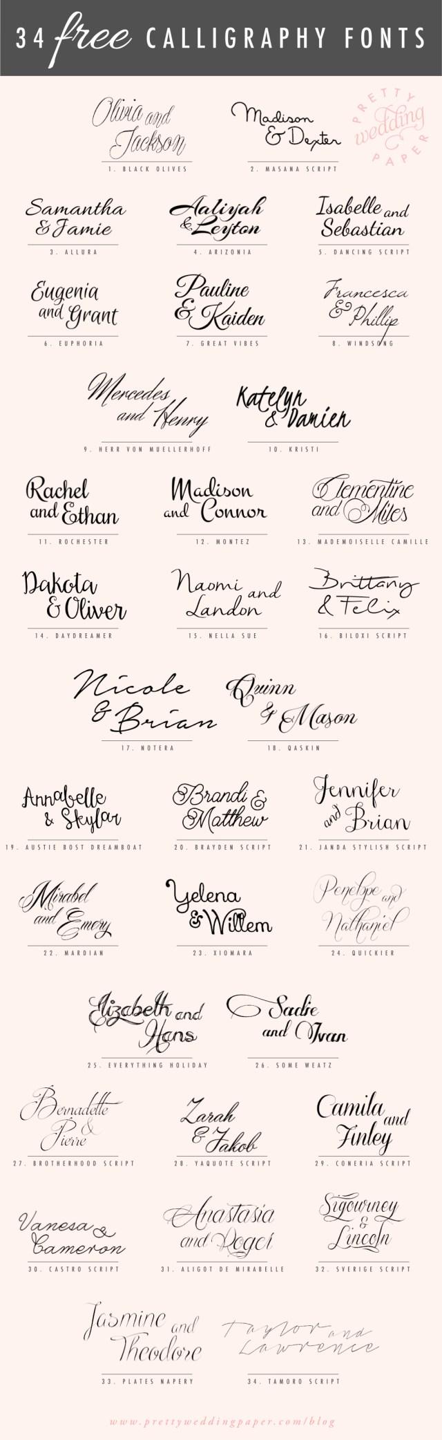 Wedding Invitation Font 34 Free Calligraphy Script Fonts For Wedding Invitations