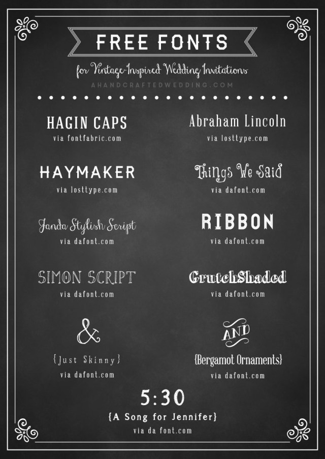 Wedding Invitation Font Free Fonts To Use On Rustic Or Vintage Inspired Wedding Invitations
