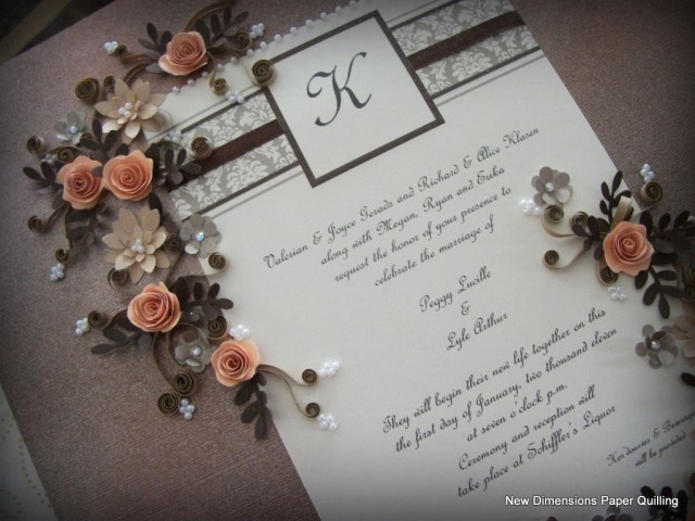 Wedding Invitation Keepsake A Quilled Wedding Invitation Keepsake With A Custom Painted