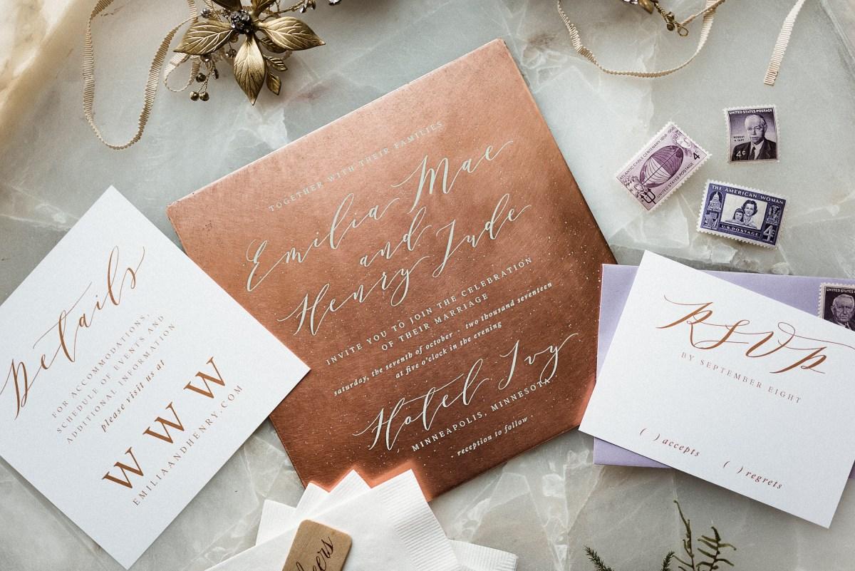 Wedding Invitation Keepsake Copper Wedding Invitation Marriage Certificate Wedding Invitation