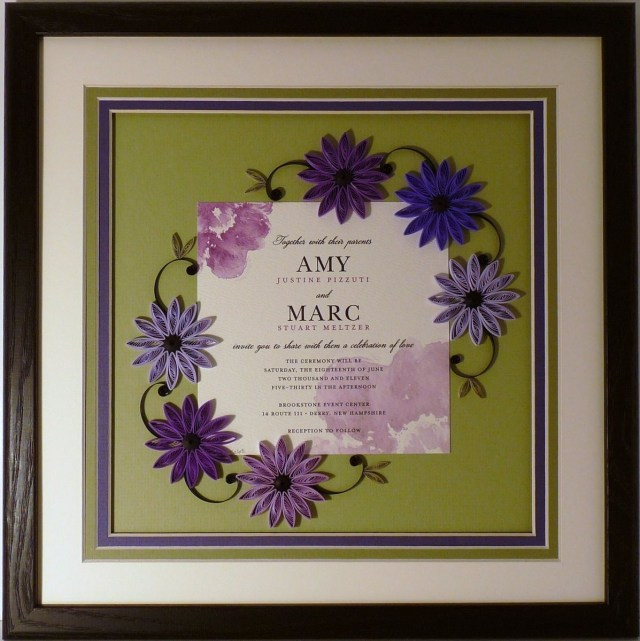 Wedding Invitation Keepsake Hand Crafted Wedding Invitation Quilled Keepsake Framed Wall Art