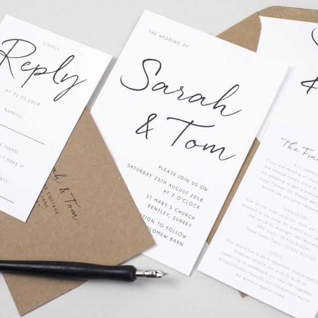 Wedding Invitation Paper Minimalist Wedding Invitation Pear Paper Co Notonthehighstreet
