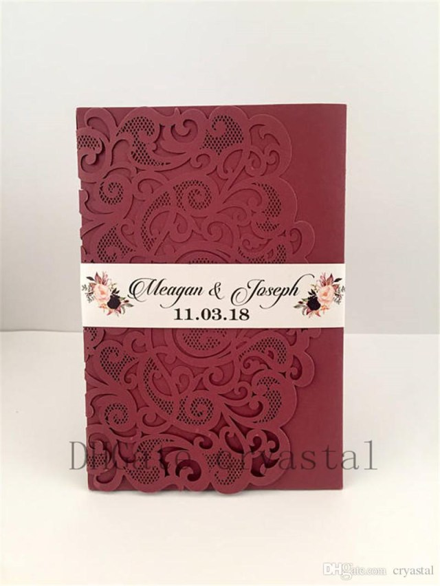 Wedding Invitation Pockets 2018 Marsala Burgundy Pocket Wedding Invitations Die Cut Laser Cut
