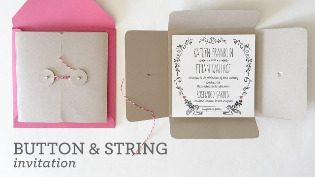 Wedding Invitation Pockets Diy Wedding Invitation Pocket With Button String Closure Youtube