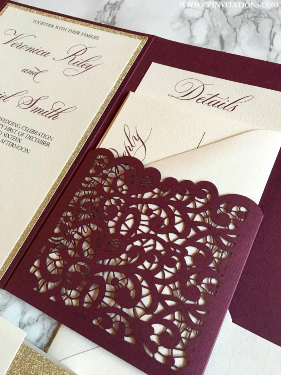 Wedding Invitation Pockets Laser Cut Pocket Wedding Invitation Burgundy And Gold Glitter
