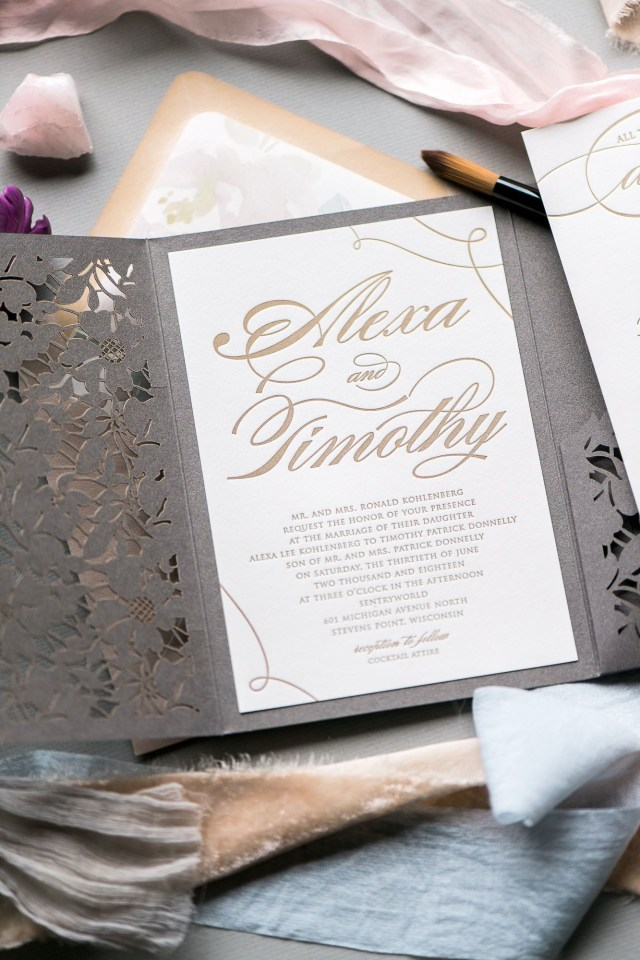 Wedding Invitation Pockets Lauren Wedding Invitation Suite In 2019 Jupiter And Juno