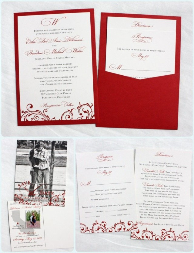 Wedding Invitation Pockets Red Vintage Scroll With Dots Clutch Pocket Wedding Invitations And