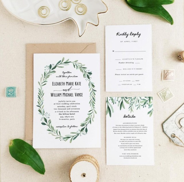 Wedding Invitation Suite Greenery Wedding Invitation Template Printable Wedding Invitation