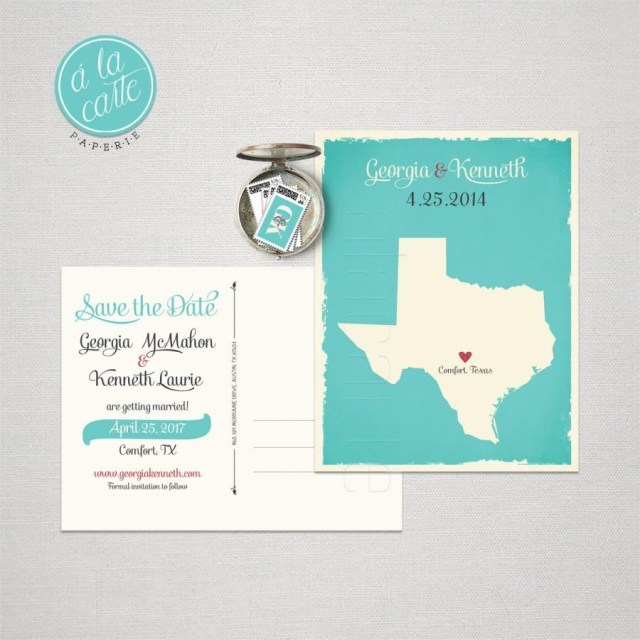 Wedding Invitations And Save The Dates Texas Destination Wedding Us State Save The Date Postcard Turquoise