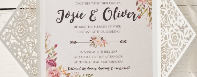 Wedding Invitations Design Peony Floral Design Laser Cut Wedding Invitation Peach Wolfe