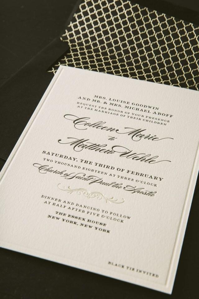 Wedding Invitations Essex Classic Black Letterpress Wedding Invitations For New York City