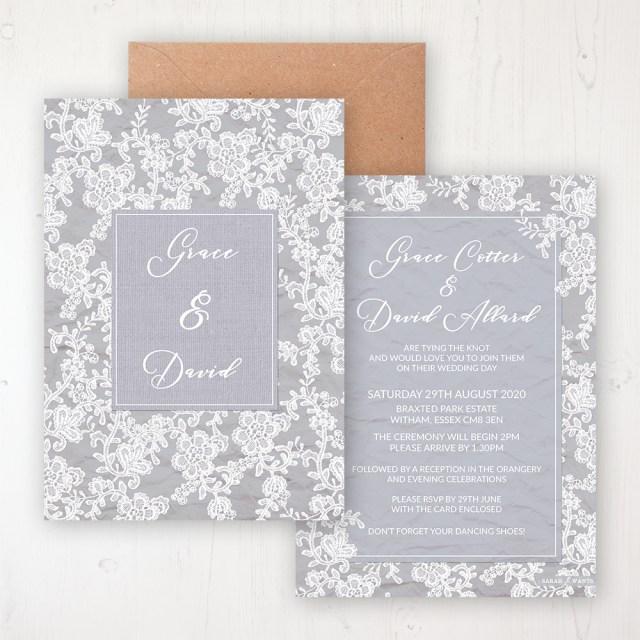 Wedding Invitations Essex Floraison Lace Wedding Invitations Sarah Wants Stationery
