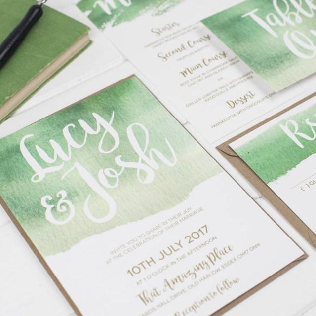 Wedding Invitations Essex Green Watercolour Wedding Invitation Set Russet And Gray