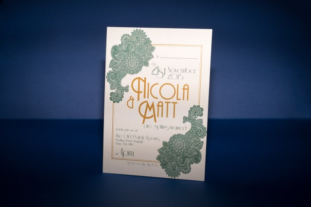 Wedding Invitations Essex Thatthingyoupluck The Old Parish Rooms Art Deco And Mendhi Themed