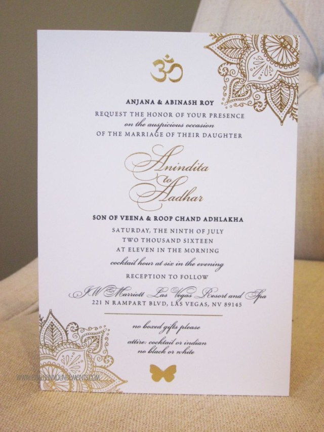 Wedding Invitations Gold 5x7 Announcement Indian Wedding Gold Foil Invitation