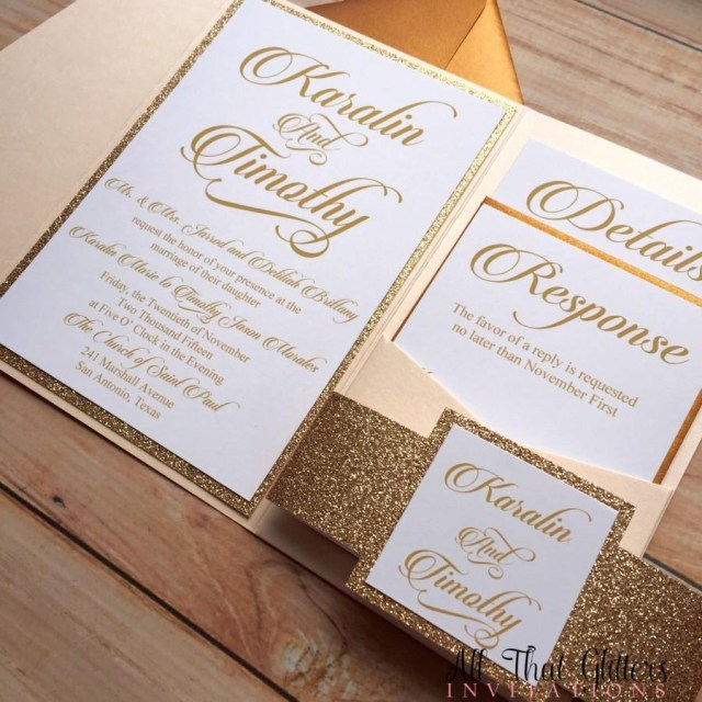 Wedding Invitations Gold Diy Rose Gold Glitter Wedding Invitations Gold 2570387 Weddbook