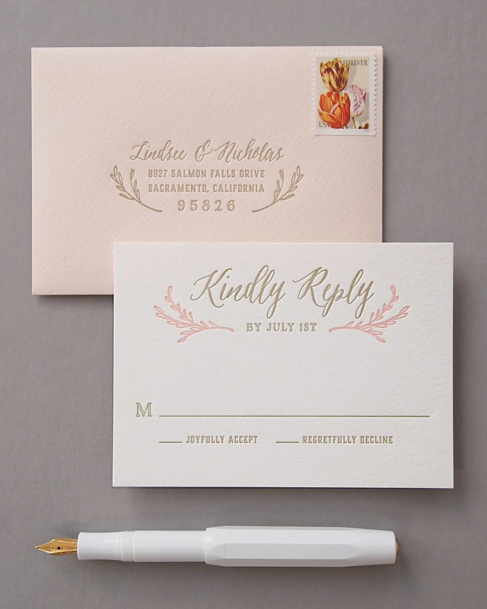 Wedding Invitations Gold Elegant Blush And Gold Letterpress Wedding Invitations