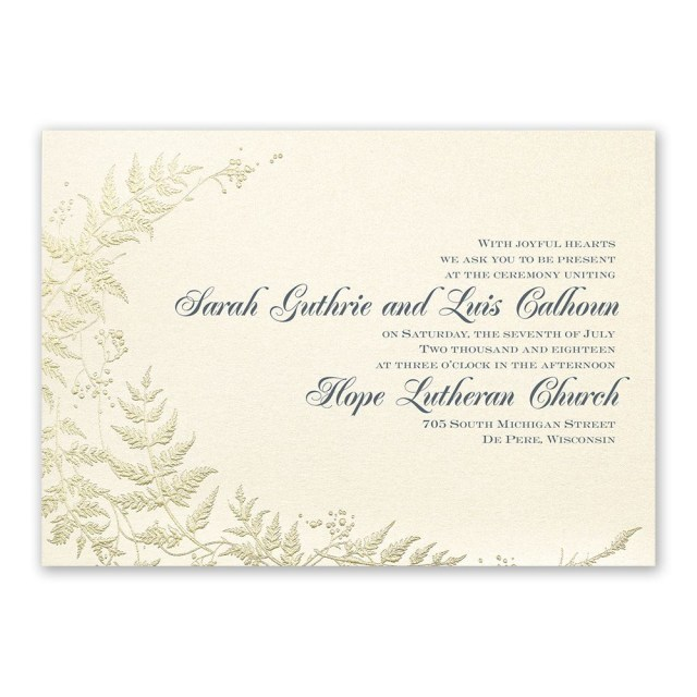 Wedding Invitations Gold Ferns Of Gold Invitation Invitations Dawn