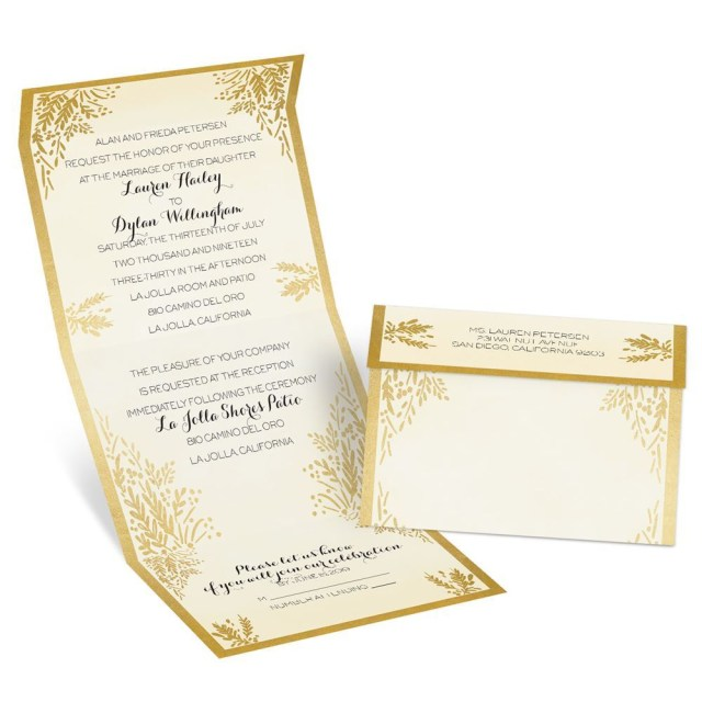 Wedding Invitations Gold Ferns Of Gold Seal And Send Invitation Anns Bridal Bargains