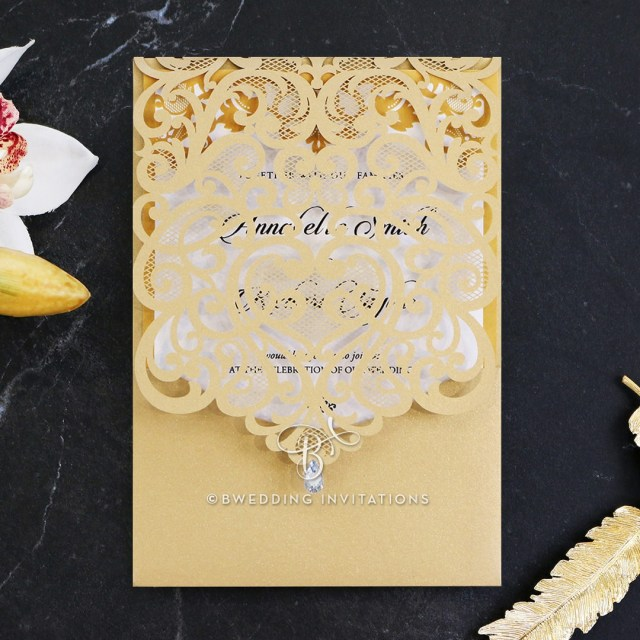 Wedding Invitations Gold Gold Charming Beauty Stylish Laser Cut Wedding Invitation De