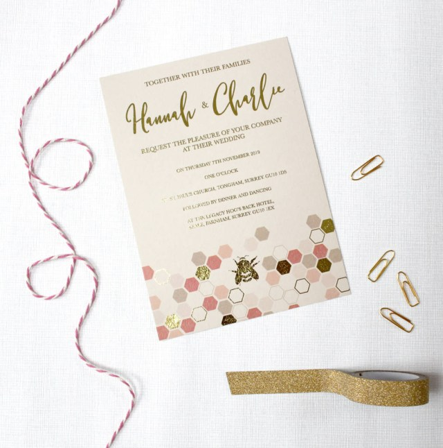 Wedding Invitations Gold Gold Foil Bee Wedding Invitations Love Paper Wishes
