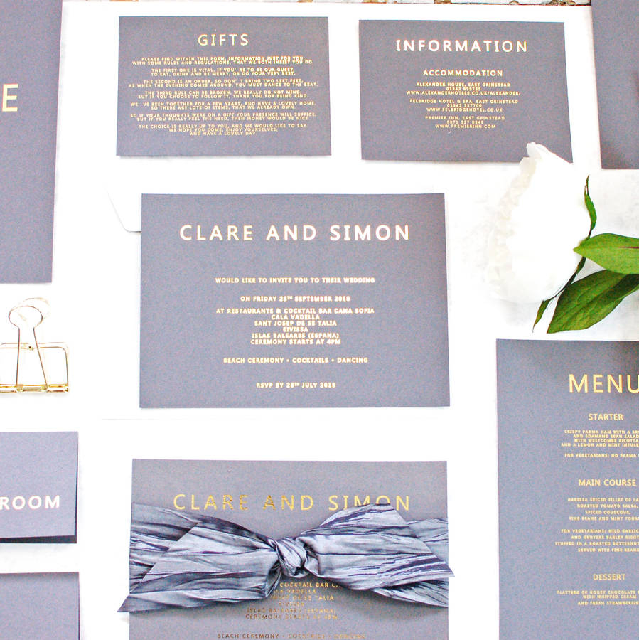 Wedding Invitations Gold Grey And Gold Foil Bespoke Wedding Invitation Made With Love