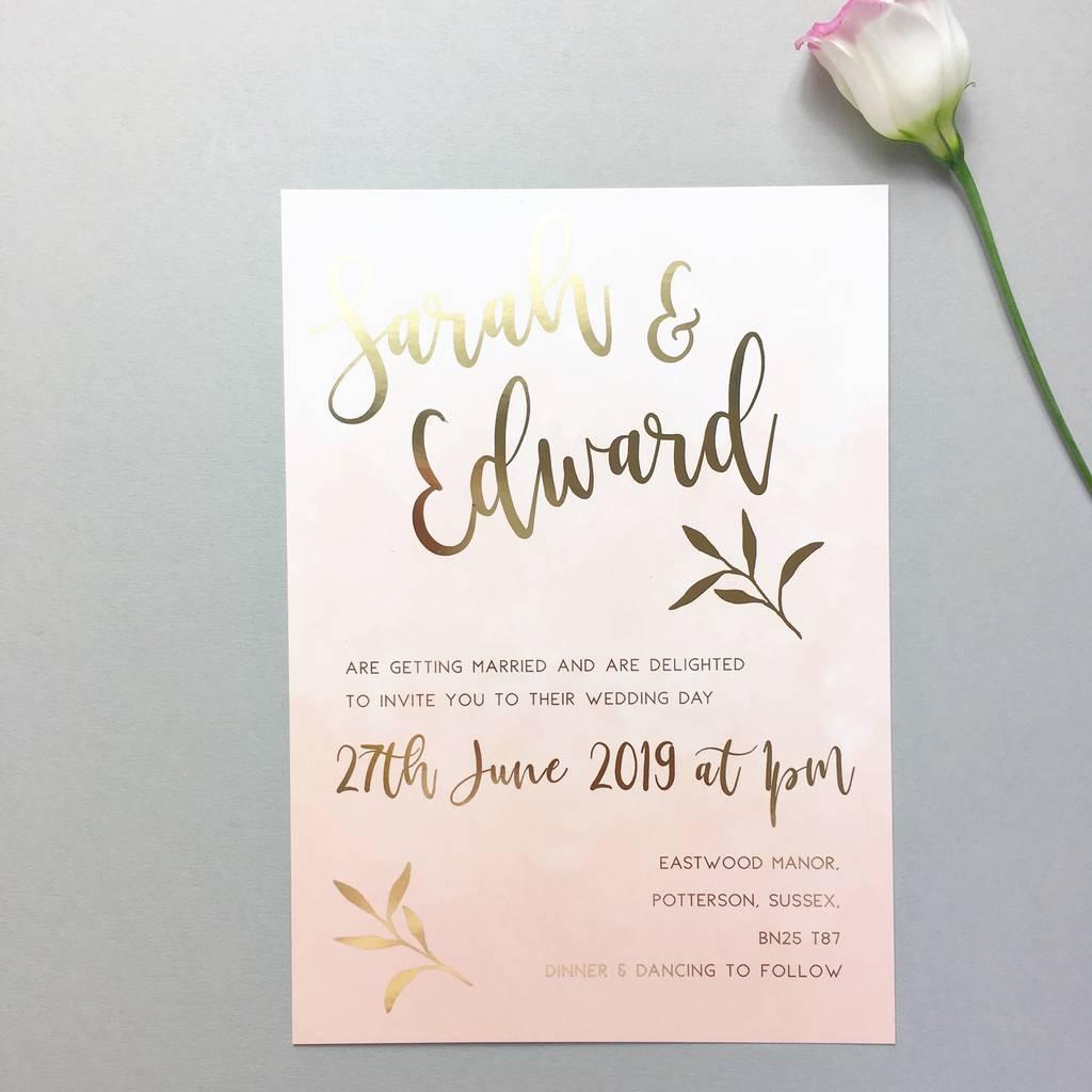 Wedding Invitations Gold Pink Blush Gold Foil Wedding Invitation Summer Lane Studio