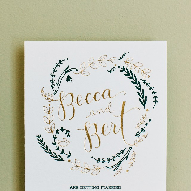 Wedding Invitations Gold Rustic Green And Gold Foil Wedding Invitations