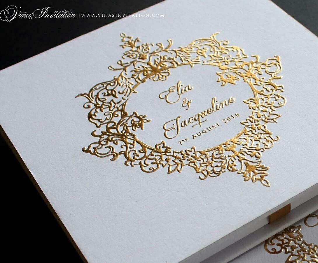 Wedding Invitations Gold Vinas Invitation Gold Emboss Emboss Classic Emboss Classic