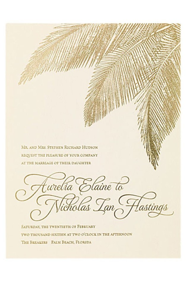Wedding Invitations Gold Wedding Invitation With Gold Foil Palm Details Brides