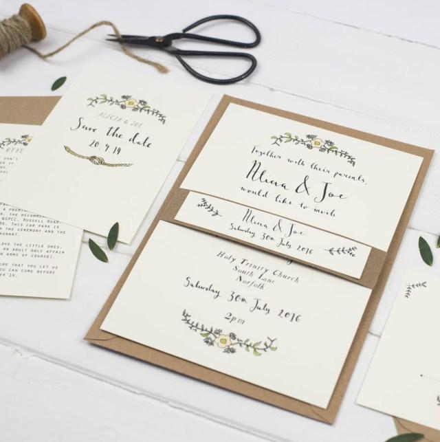 Wedding Invitations With Photos Bespoke Alicia Postcard Wedding Invitation Wildflower
