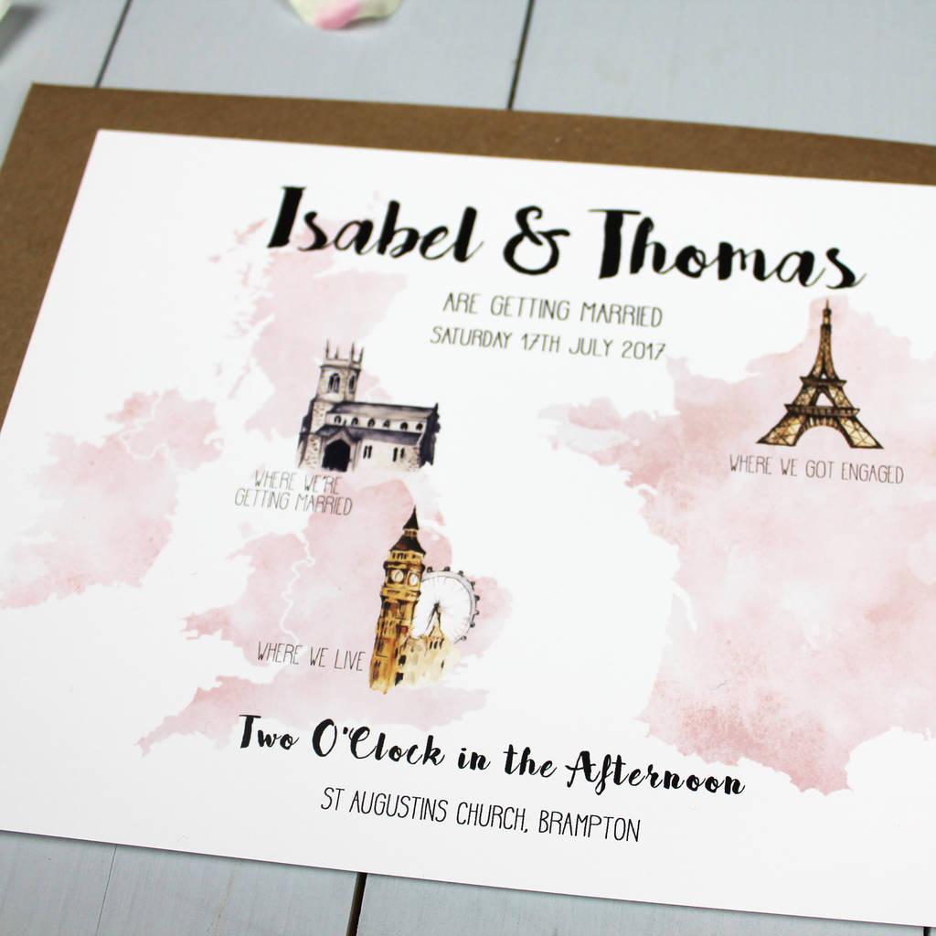Wedding Invitations With Photos Personalised Destination Wedding Invitation Beija Flor Studio
