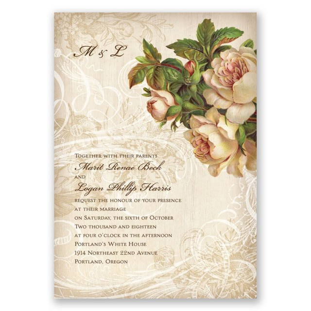 Wedding Invitations With Photos Vintage Wedding Invitations Invitations Dawn