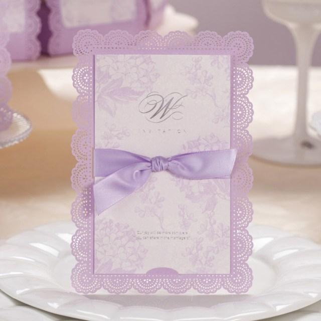 Wedding Invitations With Purple Ribbon 50pcs Elegant Purple Laser Cut Wedding Invitations Cards With Ribbon