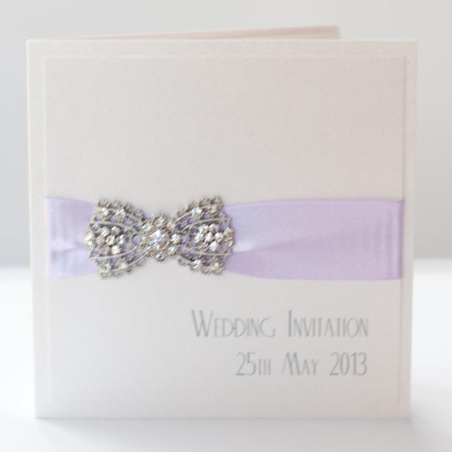 Wedding Invitations With Purple Ribbon Lilac Ivory Vintage Style Art Deco Bow Wedding Invitation
