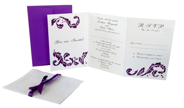Wedding Invitations With Purple Ribbon Lots Of Love Invitations