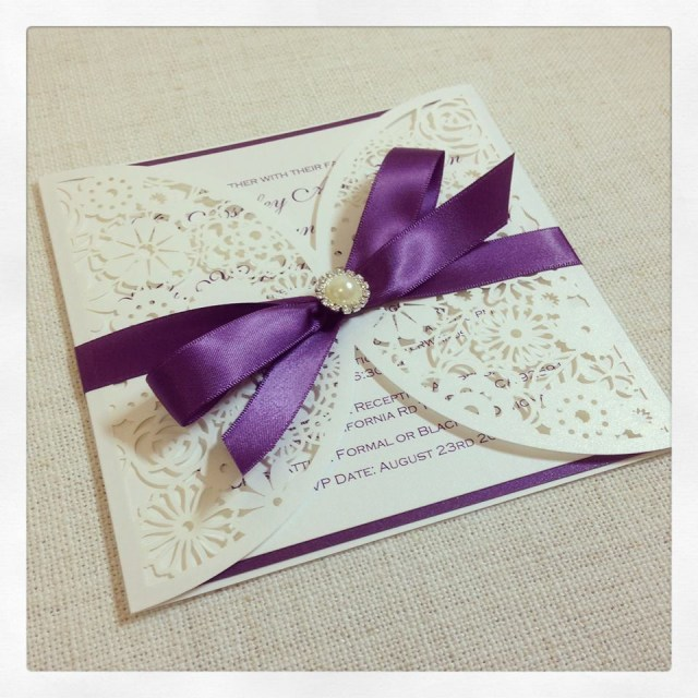 Wedding Invitations With Purple Ribbon Luxe Laser Cut