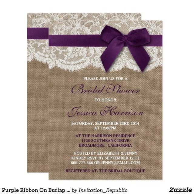 Wedding Invitations With Purple Ribbon Purple Ribbon On Burlap Lace Bridal Shower Invitation Bridal