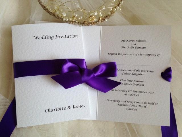 Wedding Invitations With Purple Ribbon Purple Wedding Invitations Purple Wedding Colours