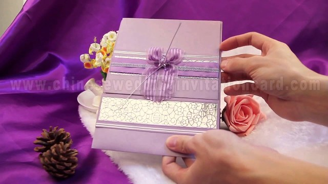 Wedding Invitations With Purple Ribbon Romantic Purple Wedding Invitation Card Design With Purple Ribbon